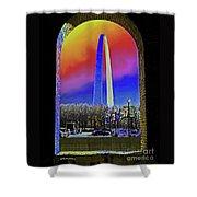St Louis Arch Rainbow Aura  Shower Curtain