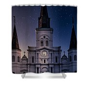 St. Louis Cathedral At Night Shower Curtain