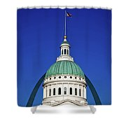 St Louis City Hall With Arch In Background Shower Curtain