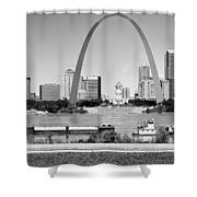 St Louis City Scape In Black And White Shower Curtain