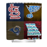 St Louis Sports Fan Recycled Vintage Missouri License Plate Art Cardinals Blues Rams Shower Curtain
