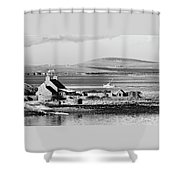 St. Margarets Hope, Orkney.    Black And White Shower Curtain