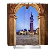 St Mark's Square Arch - Venice Shower Curtain by Barry O Carroll
