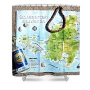 St. Martin St. Maarten Map Shower Curtain