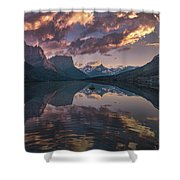St Mary Lake At Dusk Panorama Shower Curtain