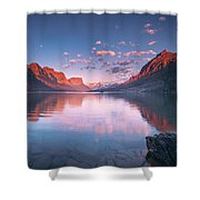 St Mary Lake In Early Morning With Moon Shower Curtain