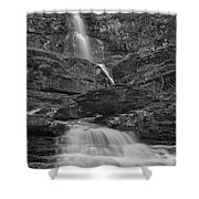 St Mary Triple Cascades - Black And White Shower Curtain