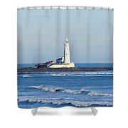 St Mary's Lighthouse Whitley Bay Shower Curtain