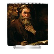 St Matthew And The Angel Shower Curtain by Rembrandt Harmensz van Rijn