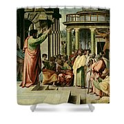 St. Paul Preaching At Athens Shower Curtain by Raphael