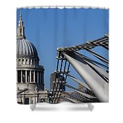 St Pauls Cathedral And The Millenium Bridge  Shower Curtain