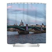 St. Paul's Cathedral Behind The Southwark Bridge During Sunset Shower Curtain