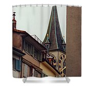 St. Peter Tower Zurich Switzerland Shower Curtain by Susanne Van Hulst
