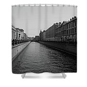 St Petersburg Waterway - Black And White Shower Curtain