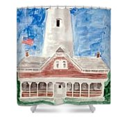 St Simons Lighthouse Nautical Painting Print Shower Curtain