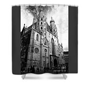 St Stephens Cathedral Vienna In Black And White Shower Curtain