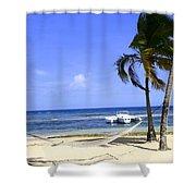 St Thomas Beach Hamocks And Boats Iggys Shower Curtain