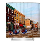 St. Viateur Bagel Hockey Game Shower Curtain