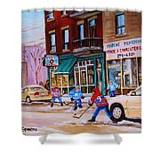 St. Viateur Bagel With Boys Playing Hockey Shower Curtain by Carole Spandau