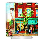St. Viateur Bagel With Shoppers Shower Curtain