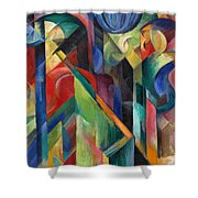 Stables By Franz Marc Bright Painting Of Horses In A Stable Shower Curtain