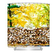 Stack Of Firewood Shower Curtain