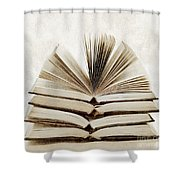 Stack Of Open Books Shower Curtain by Elena Elisseeva