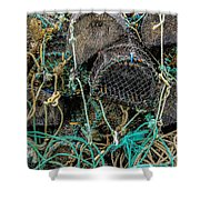 Stacked Crab Traps Shower Curtain