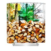 Stacked Fire Wood In Preparation For Winter 1 Shower Curtain