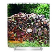 Stacked Firewood Shower Curtain