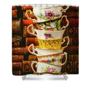 Stacked High Tea Cups Shower Curtain