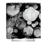 Stacked Wood Logs In Black And White Shower Curtain