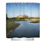 Stadium And Park Panorama Bleach Bypass Shower Curtain