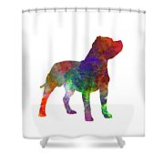 Staffordshire Bull Terrier In Watercolor Shower Curtain