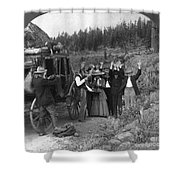 Stagecoach Robbery, 1911 Shower Curtain
