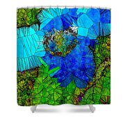 Stained Glass Blue Poppy One Shower Curtain
