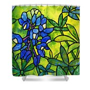 Stained Glass Bluebonnet Shower Curtain