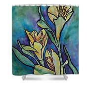 Stained Glass Flowers Shower Curtain