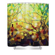 Stained Glass Forest Shower Curtain