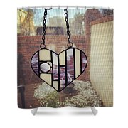 Stained Glass Heart Shower Curtain