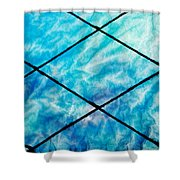 Stained Glass In Blues Shower Curtain