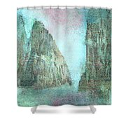 Stained Glass Mountain Temple Shower Curtain