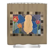 Stained Glass Pug Shower Curtain