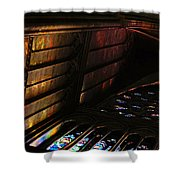 Stained Glass Sunset Notre Dame Paris Shower Curtain