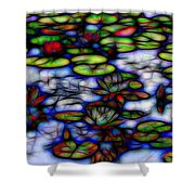 Stained Glass Water Lilies Shower Curtain