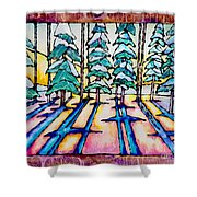 Stained Glass Watercolor Winter Pine Trees Shower Curtain