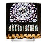 Stained Glass Window Of Notre Dame De Paris. France Shower Curtain