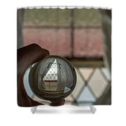 Stained Glass Window With Curtains In Crystal Ball Shower Curtain