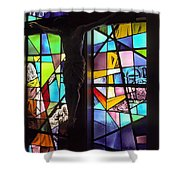Stained Glass With Crucifix Silhouette Shower Curtain