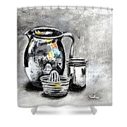 Stainless Steel Still Life Painting Shower Curtain